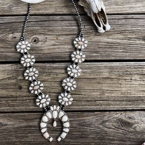 White Squash Blossom Necklace With Natural Stones